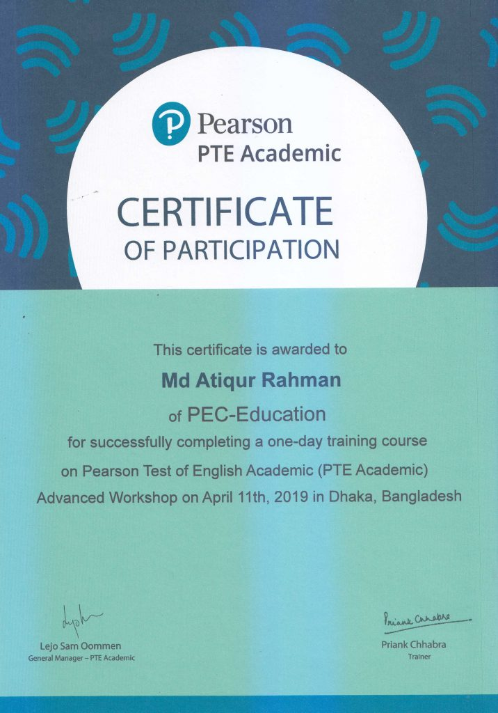 PTE Certificate 1