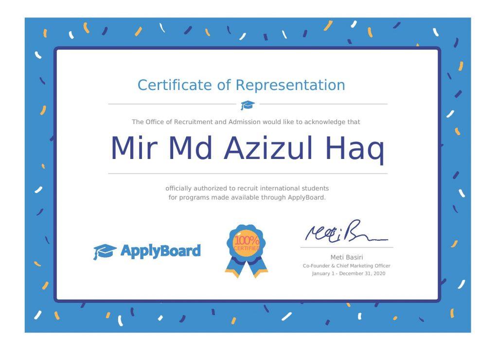 Applyboard Certificate