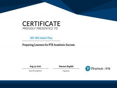 PTE training certificate